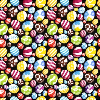 Jaja wielkanocne bezszwowe tło wzór do drukowania, tapety lub tkaniny premium vector