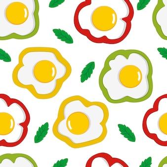 Jajecznica wzór. złamane jajka wzór. tło śniadanie. bezszwowe jedzenie wektor wzór. płaska ilustracja do tekstyliów, tapet, papieru do pakowania, scrapbookingu. ilustracja wektorowa