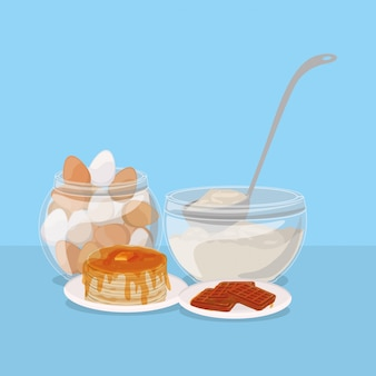 Jajek śniadaniowych gofry i bliny projektujemy, karmowego posiłku świeżego produktu naturalnego rynku premia i kulinarna tematu wektoru ilustracja