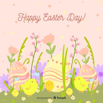 Jajka i kwiatu easter dnia tło
