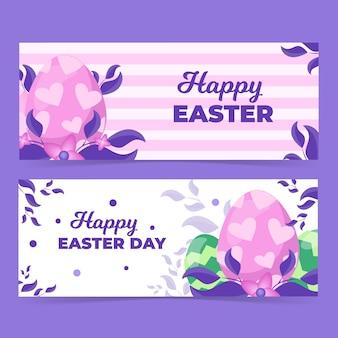 Jajka i liście szczęśliwy wielkanoc szablon transparent