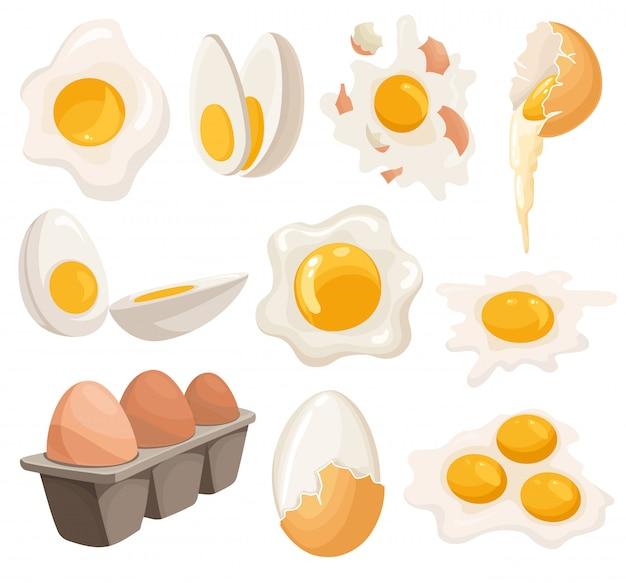 Jajka kreskówka na białym tle. zestaw smażonych, gotowanych, pękniętych skorupek, jajek w plasterkach i jaj kurzych w pudełku. ilustracja. zbieraj jajka w różnych formach