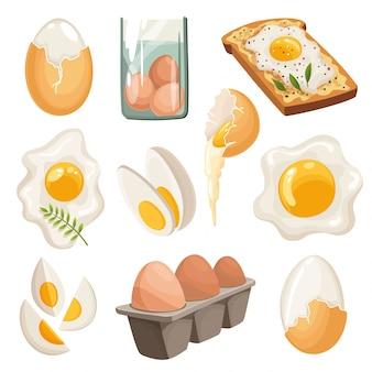 Jajka kreskówka na białym tle. zestaw smażonych, gotowanych, popękanych skorupek, krojonych jaj i kurzych jaj w pudełku. ilustracji wektorowych