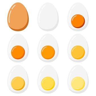 Jajka na twardo zestaw na białym tle. zestaw o różnym stopniu wypieku jajek ptasich - od jajka na miękko do jajka na twardo. wektor stylu cartoon płaska konstrukcja
