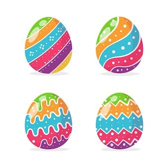 Jajka pomalowane w różne kolorowe wzory do dekoracji kartek wręczanych dzieciom na wielkanoc.