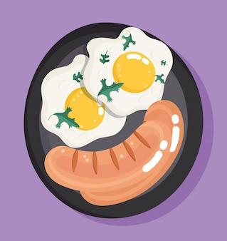 Jajka sadzone i kiełbaski