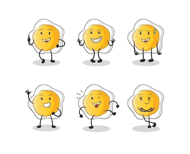 Jajka sadzone szczęśliwy zestaw znaków. kreskówka maskotka