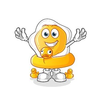 Jajka sadzone z kreskówki kaczka boja. kreskówka maskotka