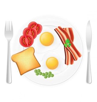 Jajka smażone z boczkiem tosty i warzywami na talerzu.