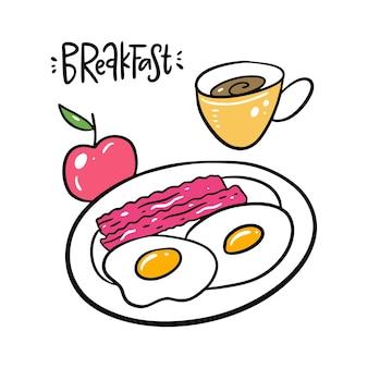 Jajka śniadaniowe, bekon, jabłko i kubek do kawy. ręcznie rysowane i napis. na białym tle styl kreskówki. projektowanie dekoracji, kart, druku, strony internetowej, plakatów, banerów, t-shirtów