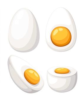 Jajko kreskówka na białym tle. zestaw jajek smażonych, gotowanych, pół pokrojonych w plastry. ilustracja. jajka w różnych formach. strona internetowa i aplikacja mobilna.
