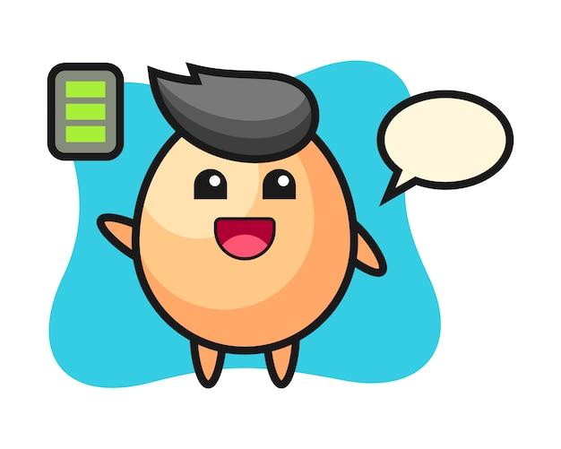 Jajko maskotka z energicznym gestem, ładny styl na koszulkę, naklejkę, element logo