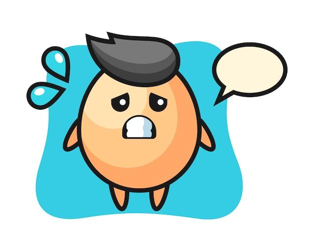 Jajko maskotka z przestraszonym gestem, ładny styl na koszulkę, naklejkę, element logo