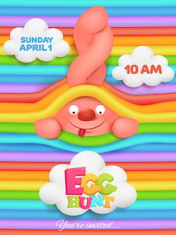 Jajko polowanie kartkę z życzeniami z różowym króliczkiem postać z kreskówki na tęczy