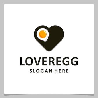 Jajko projekt logo inspiracji z logo miłości serca. wektor premium
