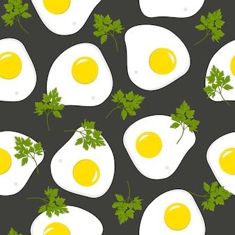 Jajko sadzone z natką pietruszki na czarno