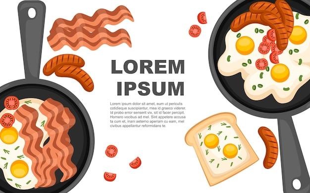 Jajko sadzone z pomidorami i mięsem na patelni ilustracja strona internetowa i projekt aplikacji