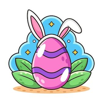 Jajko z kreskówką ucha królika.