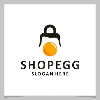 Jajko z logo inspiracji z logo torby na zakupy. wektor premium