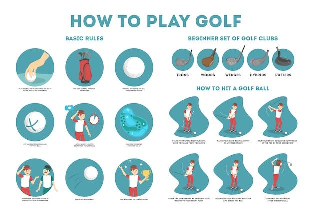 Jak grać w poradniku golfa dla początkujących. podstawowe zasady i zestaw kija golfowego. mężczyzna gracz na boisku z piłką. lekcja golfa. ilustracja