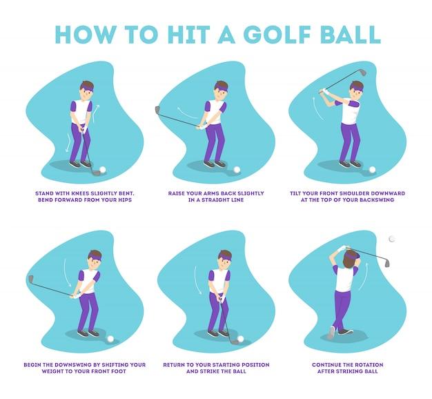 Jak grać w poradniku golfa dla początkujących. podstawowe zasady. mężczyzna gracz na boisku z piłką. lekcja golfa. ilustracja