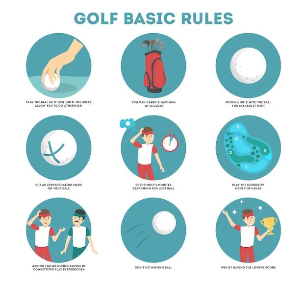 Jak grać w poradniku golfowym dla początkujących. podstawowe zasady. mężczyzna gracz na boisku z piłką. lekcja golfa. ilustracja wektorowa płaski