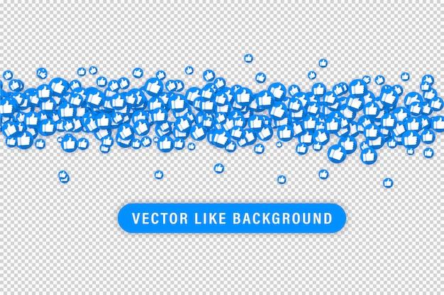 Jak ikony szablonu projektu czatu wideo na żywo. sieci społecznościowe niebieski kciuk w górę jak i czerwone serce pływające sieci przyciski na białym tle