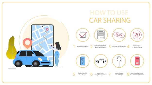 Jak korzystać z instrukcji carsharingu. koncepcja usługi udostępniania samochodów. idea współdzielenia pojazdów i transportu. aplikacja mobilna do wynajmu samochodów. ilustracja