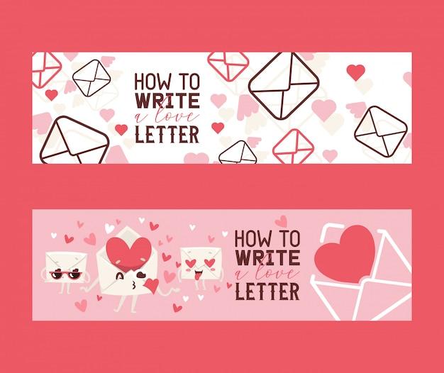Jak napisać list miłosny zestaw bannerów. koperty z trudnościami wysyłającymi pocałunki. twarz zakochana w sercach zamiast w oczach.