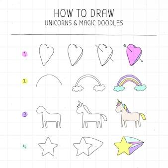 Jak narysować samouczek jednorożca i magicznych doodli