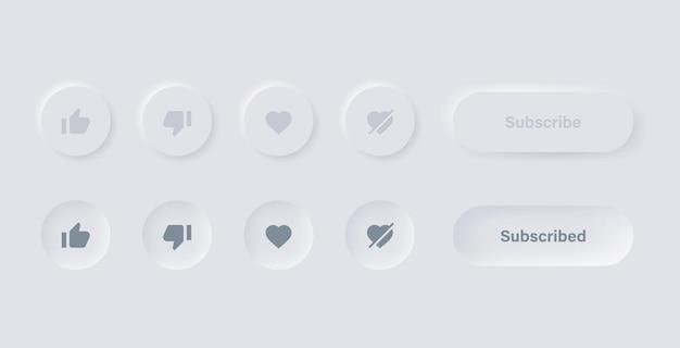 Jak niechęć, miłość, niekochaj ikony w białych przyciskach neumorfizmu z ikonami subskrypcji i powiadomień