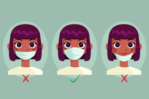 Jak nosić ilustrację maski na twarz