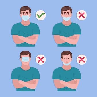 Jak nosić maskę na twarz, dobre i złe ilustracje z człowiekiem