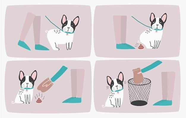 Jak podnieść psią kupę za pomocą plastikowej torby i wyrzucić ją do kosza na śmieci, instrukcja krok po kroku lub instrukcja. sposób sprzątania po zwierzęciu podczas codziennego spaceru. ilustracja wektorowa kolorowy kreskówka.