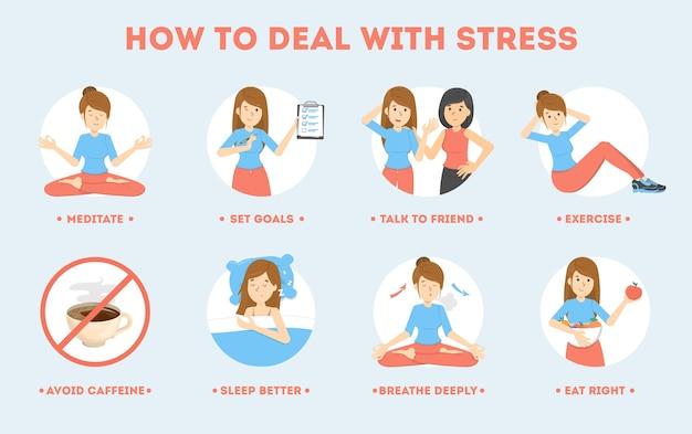 Jak radzić sobie ze stresem? depresja ogranicza instrukcje. wykonywanie ćwiczeń i jogi, snu i głębokiego oddechu pomagają zredukować stres. ilustracja na białym tle płaski wektor
