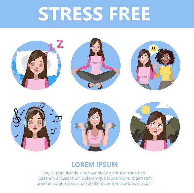 Jak Radzić Sobie Ze Stresem? Zmniejszenie Depresji Premium Wektorów