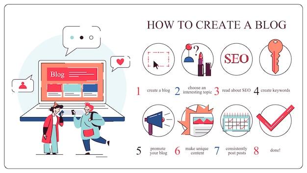 Jak rozpocząć koncepcję bloga. przewodnik dla początkujących. udostępniaj unikalne treści, bloguj i promuj. ilustracja w stylu kreskówki