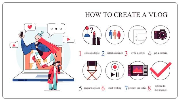 Jak rozpocząć koncepcję vloga. przewodnik dla początkujących. udostępniaj unikalne treści, bloguj i promuj. ilustracja w stylu kreskówki