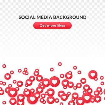 Jak serce ikona tła lub banner, czerwony okrągły symbol dla mediów społecznościowych.