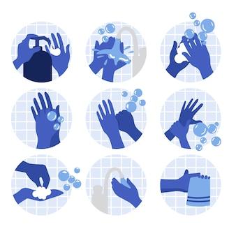 Jak umyć ręce ilustracji