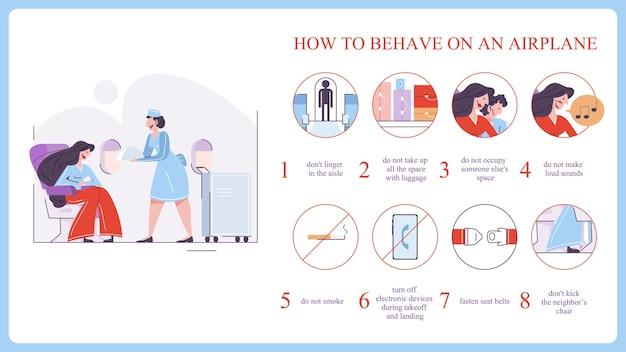 Jak zachowywać się w samolocie. zapnij pas i pozostań na siedzeniu. idea bezpieczeństwa i obsługi pasażerów. ilustracja