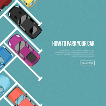 Jak zaparkować samochód baner w stylu płaskiej