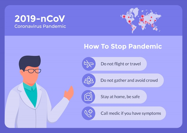 Jak zatrzymać wirusa korony covid-19 za pomocą jakiejś listy instruktażowej na baner plakatowy i porady lekarza