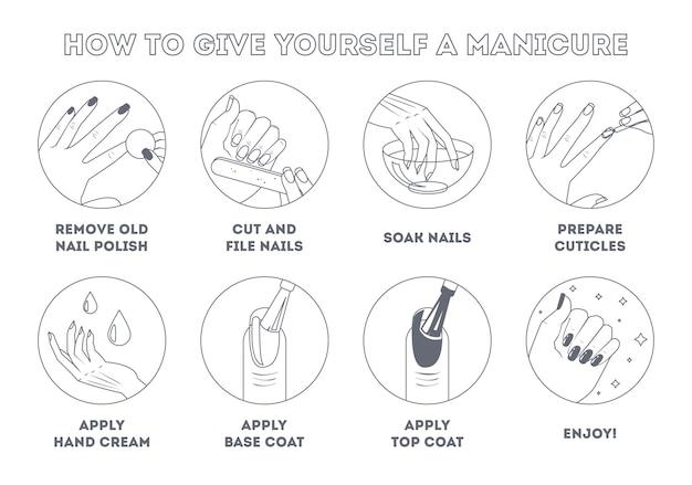 Jak zrobić sobie manicure w domu. instrukcja i przewodnik krok po kroku. piękno i pielęgnacja paznokci. kształtowanie paznokci, lakierów i skórek. ilustracja wektorowa na białym tle płaskiej linii