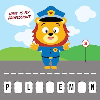Jaki jest mój zawód, przybory szkolne gry mózg lwa policjanta
