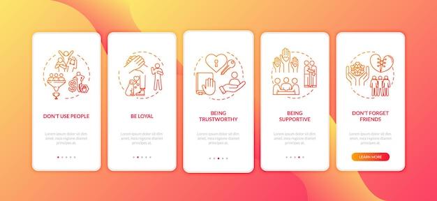 Jako wierny przyjaciel wprowadzasz ekran strony aplikacji mobilnej z koncepcjami. wskazówki dotyczące związku przyjaźni i miłości 5 kroków instrukcji graficznych. szablon wektorowy interfejsu użytkownika z kolorowymi ilustracjami rgb