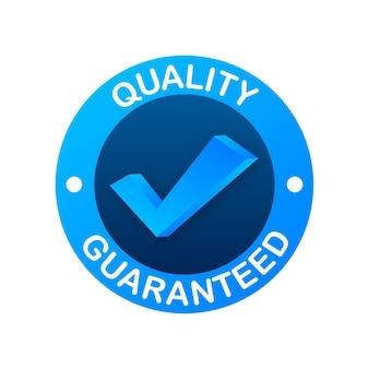 Jakość gwarantowana. znacznik wyboru. symbol najwyższej jakości. ilustracja wektorowa