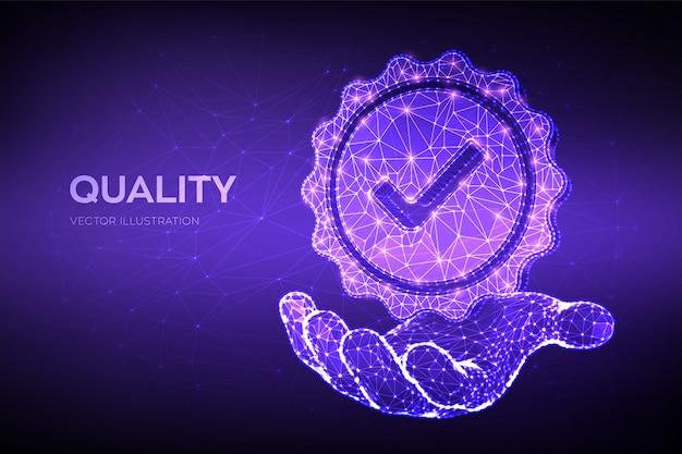 Jakość. ikona niskiej jakości wielokąta sprawdź w dłoni. standardowe poświadczenie kontroli jakości.