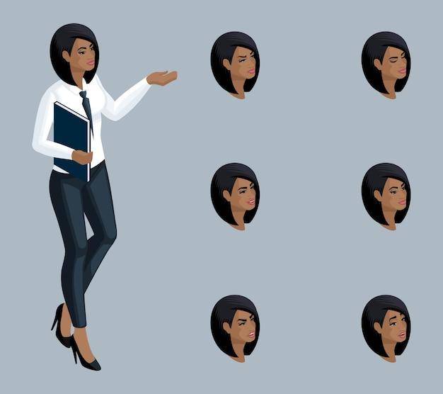 Jakość isometry, dama biznesu, afroamerykanka. postać, dziewczyna z zestawem emocji do tworzenia wysokiej jakości ilustracji