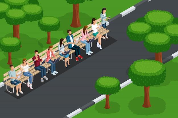 Jakość izometrii, koncepcja rekreacji młodych ludzi w parku, z laptopami z tabletami z telefonu, praca zdalna. stwórz swoją koncepcję reklamową